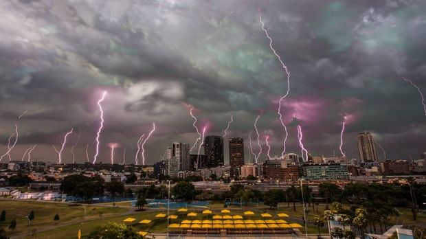 Lighting up: A multiple exposure picture of lightning striking Sydney's skyline, which was compiled on Wednesday.