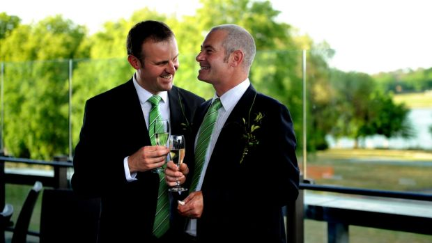 Andrew Barr and Anthony Toms celebrate their civil partnership at the National Library in 2009.