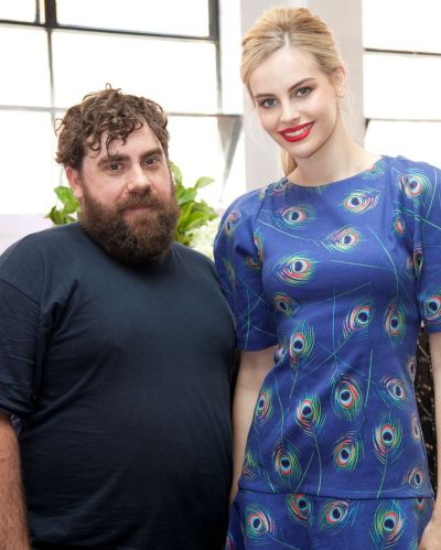 From left: Luke Sales and Zoe Nieuwenhuis at VAMFF campaign launch, Cremorne.