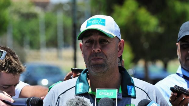 Nothing set in stone: Darren Lehmann at a press conference ahead of Test team practice in Adelaide.
