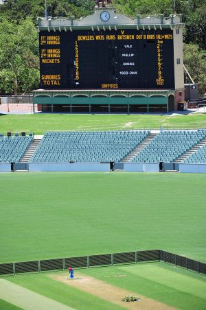 A tribute to Phillip Hughes at Adelaide Oval on the historic scoreboard.