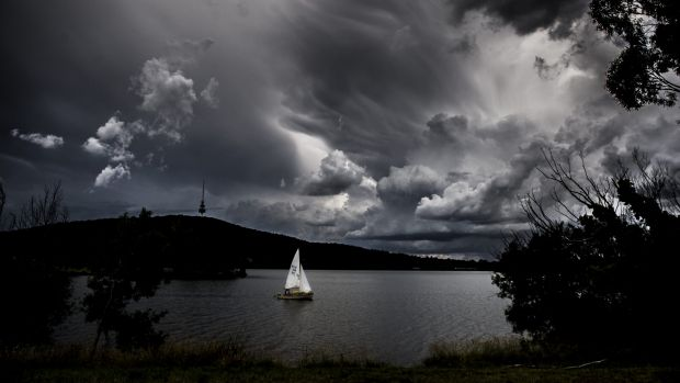 Change is in the wind: A sailing boat takes to Lake Burley Griffin under ominous skies on Friday. Climate predictions ...