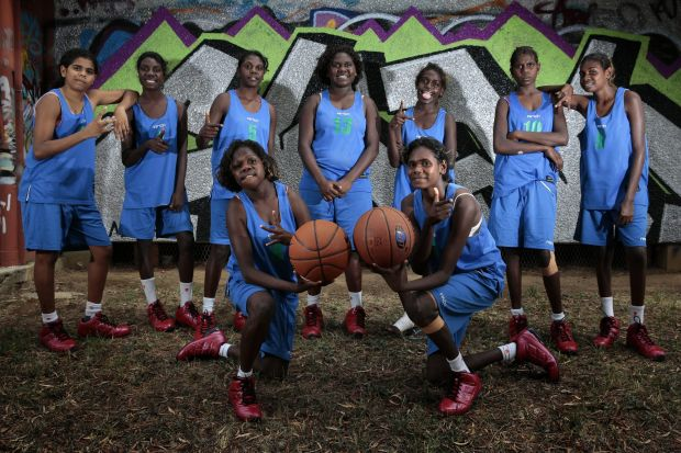 Members of the Gapuwiyak Girls Team, rear from left, Haley Hunt, Kelisha Wunungmurra, Andrea Mununggurr, Angie Gumana, ...