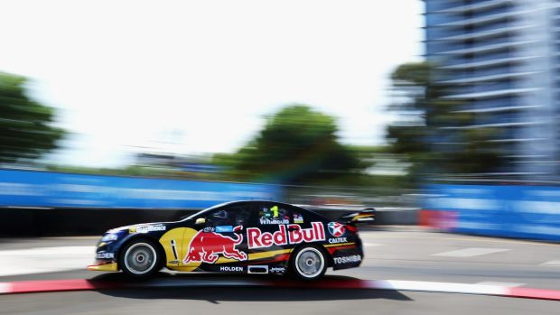 Pacesetter: Jamie Whincup at practice at Sydney Olympic Park on Friday.