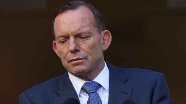 Reset: Tony Abbott during his press conference in the Prime Minister's courtyard at Parliament House on Monday.