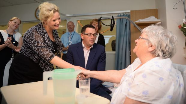The new Victorian Premier Daniel Andrews and Health Minister Jill Hennessey at Frankston hospital with patient June Maher.
