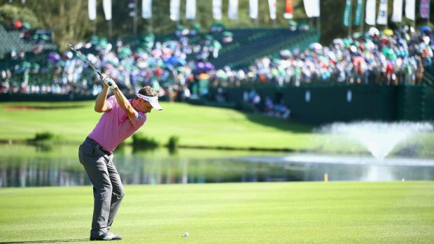 Luke Donald attacks the pic at the Nedbank Golf Challenge in Sun City, South Africa.