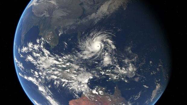 Moving: A satellite image of Typhoon Hagupit. Experts say it will be the strongest storm to hit the Philippines this year.