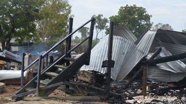 The remains of a Condamine home destroyed by fire.