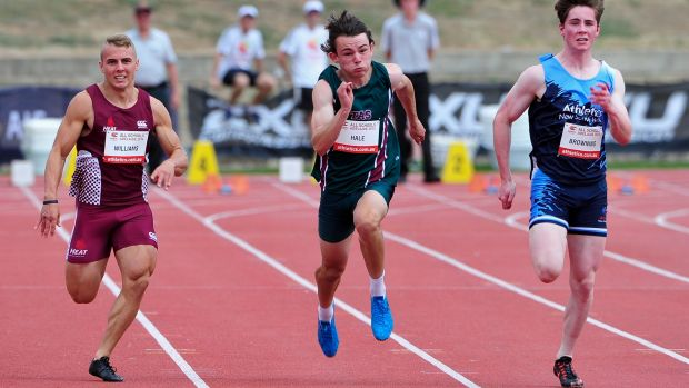 Jack Hale, centre, pips Trae Williams, left, and Rohan Browning at the Australian All Schools Championships on Saturday.