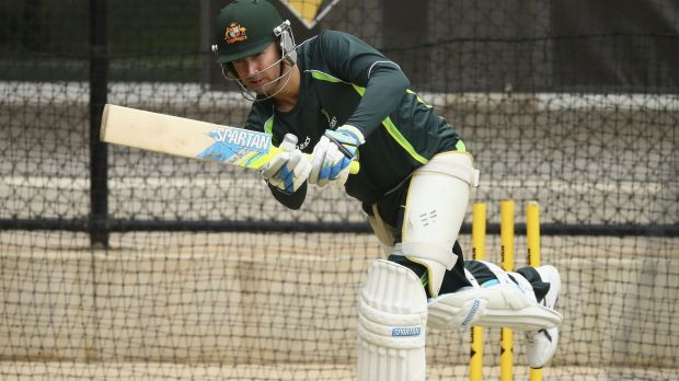 Michael Clarke in the nets in Adelaide on Saturday.