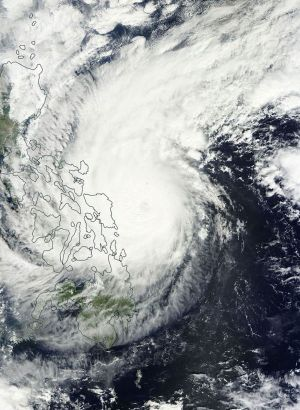 A satellite image of Typhoon Hagupit over the Philippines late on Saturday.