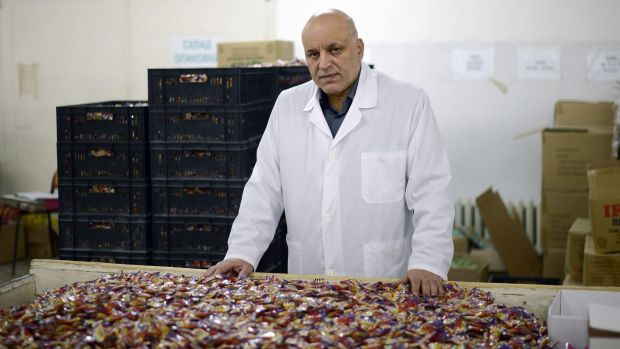 Alpi's owner, Ventsislav Peychev, with his deodorant sweets at the company's factory in Asenovgrad, Bulgaria.