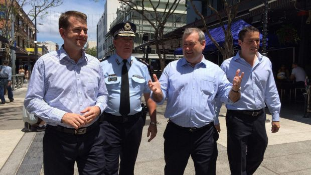 Attorney-General Jarrod Bleijie, Police Commissioner Ian Stewart, Police Minister Jack Dempsey and Safe Nights Out ...