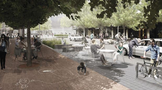 An artist's impression depicts how the planned Bunda Street shared zone could look.
