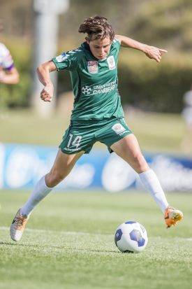 Ashleigh Skyes of Canberra United on the burst.