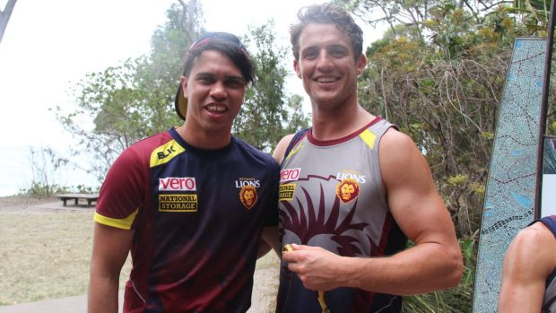 On location: Former Cat Allen Christensen (left) and new Lions teammate Matt Maguire at Brisbane's training camp at Noosa.