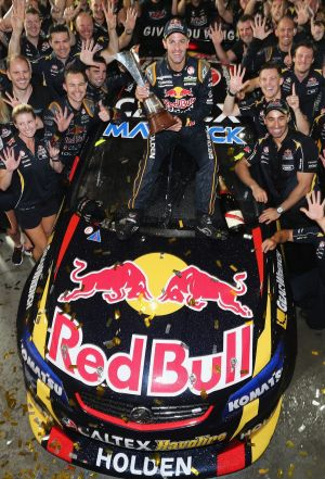 Record hall: Jamie Whincup and his Red Bull Racing team celebrate their V8 title win.