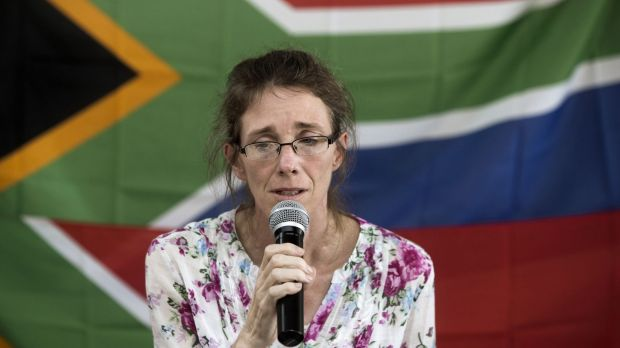 Yolande Korkie, a former hostage and wife of Pierre Korkie, appealing in January for the release of her husband.