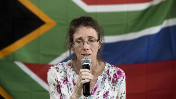 Yolande Korkie, a former hostage and wife of Pierre Korkie, holding a press conference in Johannesburg to appeal for the ...