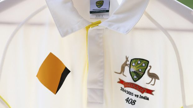 Michael Clarke's Test shirt featuring Phillip Hughes' Test cap number 408.