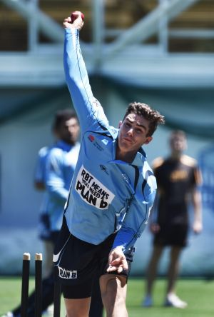 Back in the nets: Sean Abbott at the SCG on Monday.