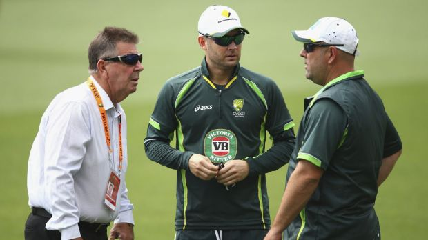 Brains trust: Selector Rod Marsh, captain Michael Clarke and coach Darren Lehmann talk tactics at Adelaide Oval on Monday.