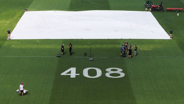 The number 408, the Test cap number of the late Phillip Hughes, was painted on the Adelaide Oval outfield on Monday.