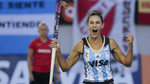 Argentina's Luciana Aymar celebrates after scoring a penalty during the Champions Trophy final against Australia in ...