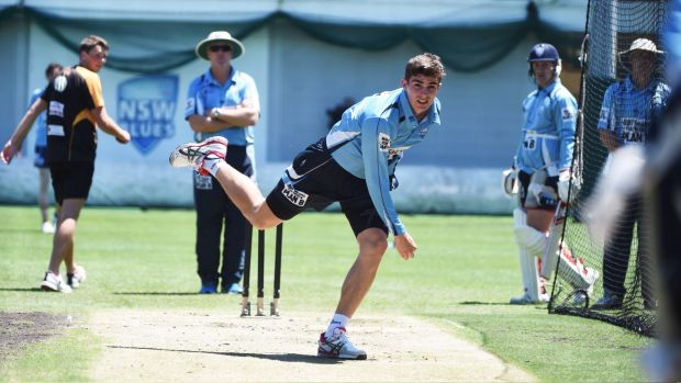 Back in the nets: Sean Abbott sends down a delivery at NSW training.