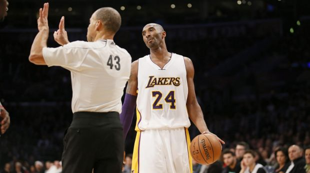Not happy: Kobe Bryant is called for an offensive foul during the loss to the Pelicans.