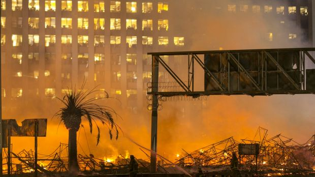 Hundreds of firefighters battled the blaze for several hours in downtown LA.