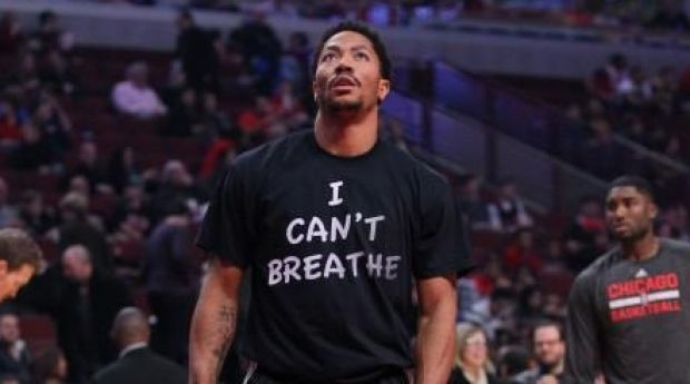Making a statement: Derrick Rose during pre-game warm-ups.