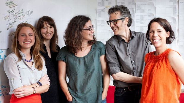 Serial staff: (From left) Dana Chivvis, Emily Condon, Sarah Koenig, Ira Glass and Julie Snyder.