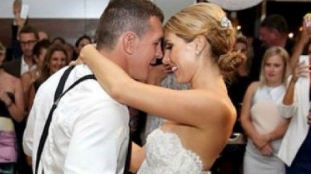 Bridal waltz: Greg Bird on his wedding day with new bride, Becky.