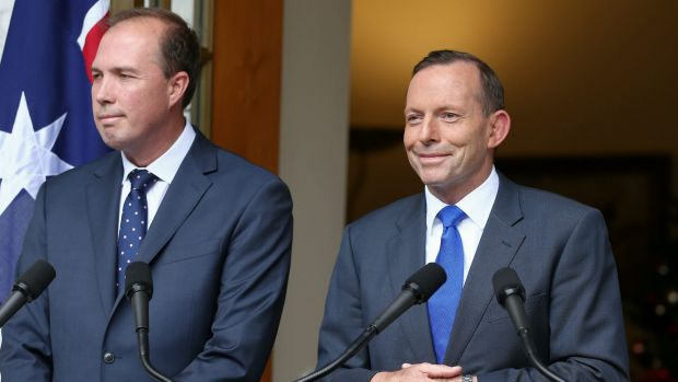 Tony Abbott with Health Minister Peter Dutton.