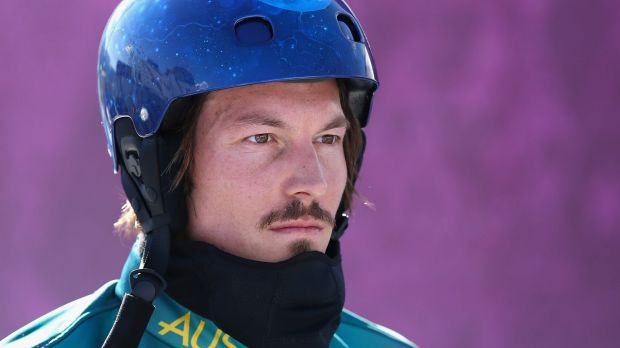 Alex Pullin of Australia looks on during a Men's Snowboard Cross practice during day eight of the Sochi 2014 Winter ...