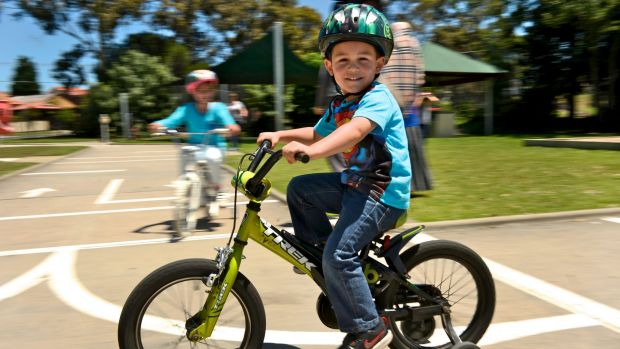Omer Yandim learning how to ride a bicycle at the Essendon Traffic School.
