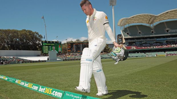 Sad walk off: Michael Clarke leaves the Adelaide Oval after injuring his back.
