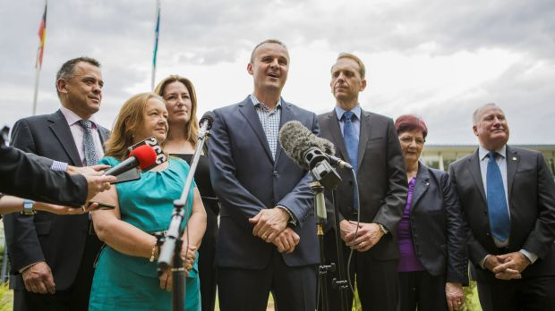 IN POWER: ACT Labor leader Andrew Barr, centre, with his party's  MLAs,  from left, Chris Bourke, Joy Burch, Yvette ...