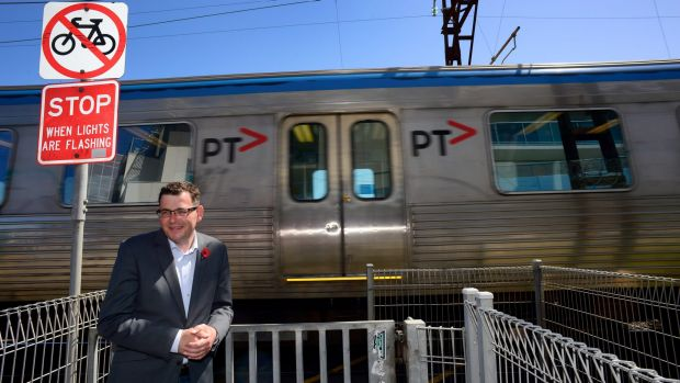 Daniel Andrews at the Balcombe Road level crossing in Mentone.