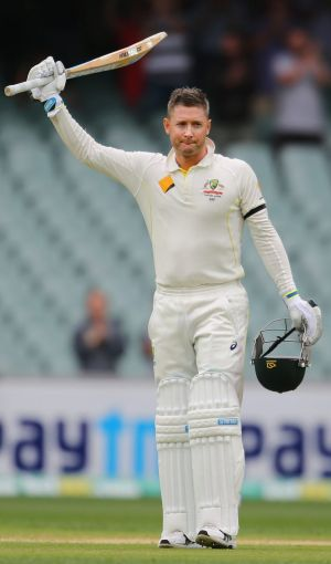Oh captain, my captain: Michael Clarke celebrates his century.