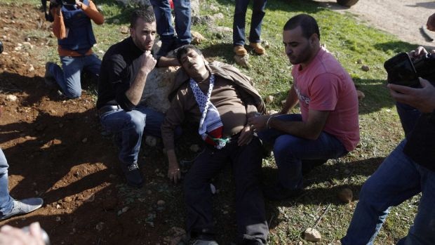 Palestinian minister Ziad Abu Ein falls after being hit by Israeli soldiers during a protest.