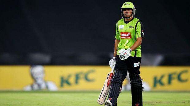 Out injured: Sydney Thunder batsman Usman Khawaja.