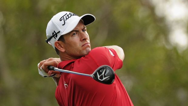 Bombs away: Adam Scott tees off during the first round of the PGA Championship