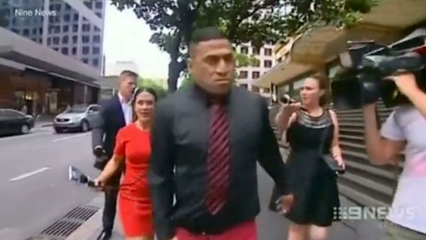 John Hopoate in a confrontation with 2UE reporter Leonie Ryan at the Downing Centre Local Court.