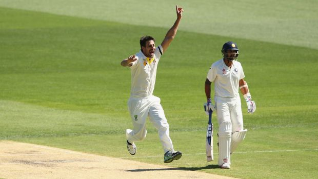 Appealing: Mitchell Johnson appeals unsuccessfully for the wicket of Shikhar Dhawan early on the third day.