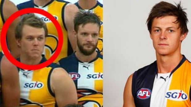 Media officer Ben Roberts in the official Eagles team photo; actual West Coast player Callum Sinclair on the right.