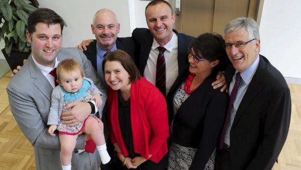 Andrew Barr pictured with partner Anthony Toms, brother and sister in law Iain and Natalie Barr with their daughter Zoe ...