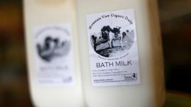 Bottles of Mountain View Organic Dairy Bath Milk.
